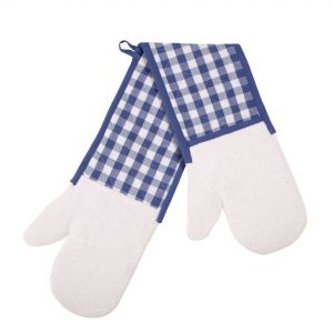 Gingham Check Better Grip Double Oven Mitt, Blue/White