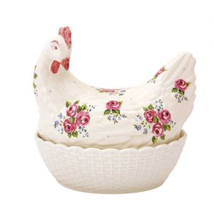 Egg Holder - Rosie Hen - Pink Rosebuds