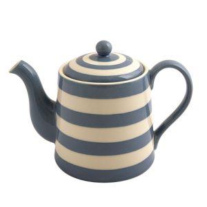 Kitchen Stripe Teapot, Delph Blue