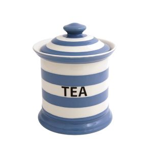 Kitchen Stripe Tea Storage Jar, Delph Blue