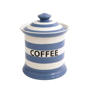 Kitchen Stripe Coffee Storage Jar, Delph Blue