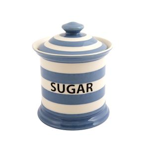 Kitchen Stripe Sugar Storage Jar, Delph Blue