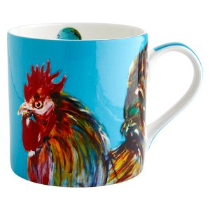 Cockerel Aqua Mug - Julie Steel Designs
