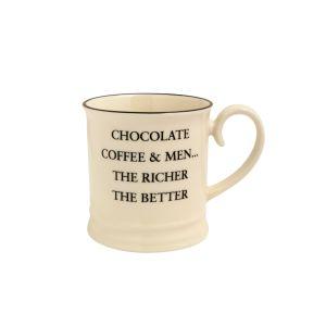 Quips & Quotes Tankard Mug - Chocolate Coffee & Men