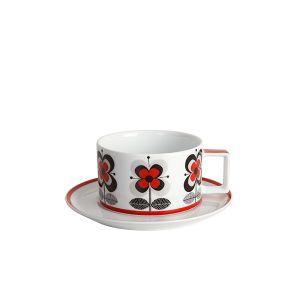 Stockholm Red Teacup & Saucer